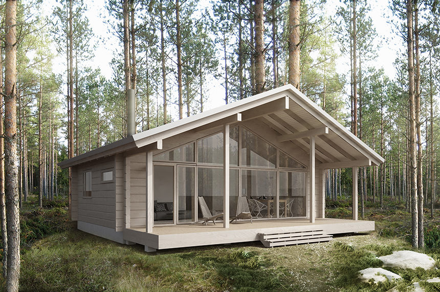 Sirius is a modern log cabin featuring a front elevation made entirely of glass.